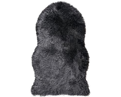 Schapenvacht imitatie zwart met grijze uiteinden 55x80 cm