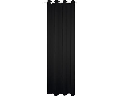 Thermo donkermakend gordijn met ringen zwart 135x245 cm