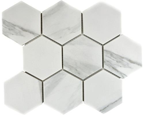 Keramisch mozaïek CIM HX9 CR hexagon carrara 25,6x29,55 cm