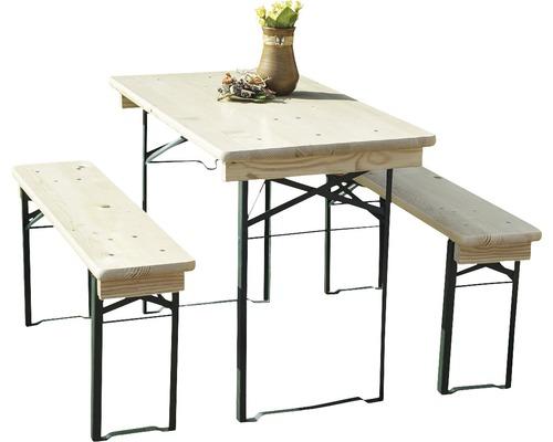 Bierbank set, 110x50x75 cm, Vuren, naturel, 3-delig