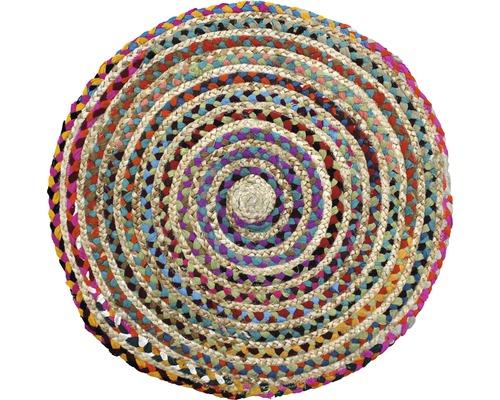 Vloerkleed natuur rond gekleurd ø 70 cm