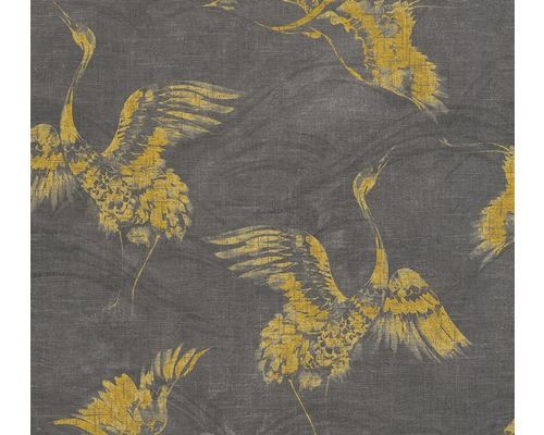 A.S. CRÉATION Vliesbehang 36631-3 Linen Style kraanvogel antraciet/geel