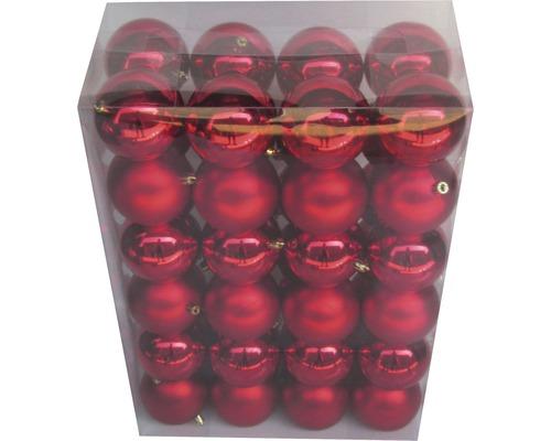 LAFIORA Kerstbal kunststof rood Ø 8 cm 48 st.