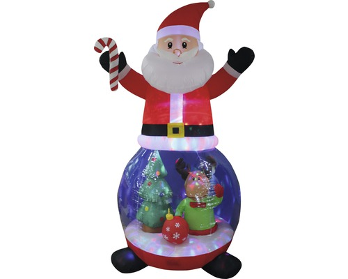 Opblaasfiguur Kerstman met sneeuwbol LED H240 cm