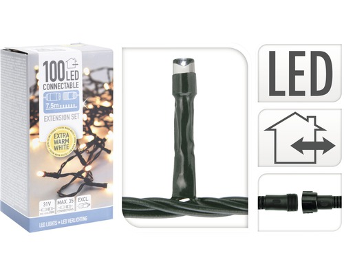 Kerstverlichting LED connect extend 100 lampjes warmwit