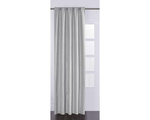 SOLEVITO Verduisterend gordijn met plooiband grijs 135x280 cm