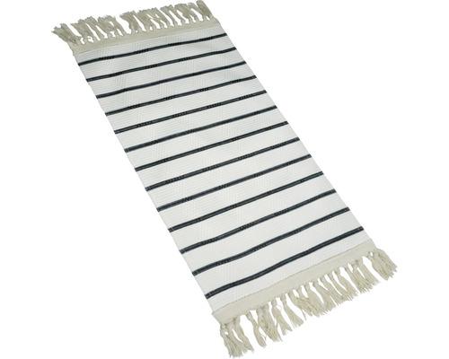 SOLEVITO Vloerkleed kelim zwart/wit 80x150 cm