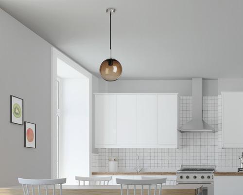 BRILONER Hanglamp Bol Ø 20 cm mat nikkel rookglas