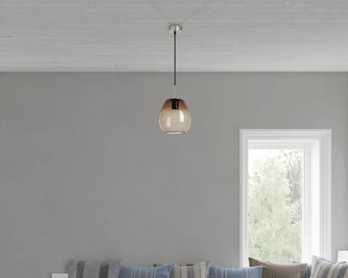 BRILONER Hanglamp Druppel Ø 22 cm mat nikkel rookglas