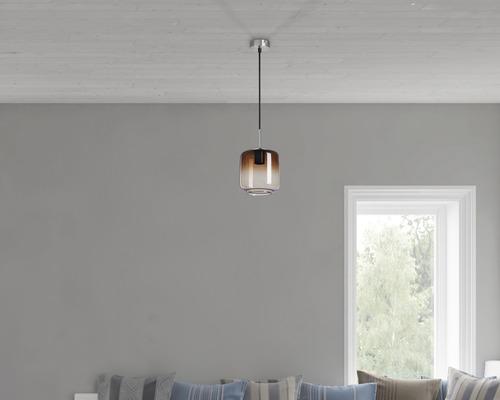 BRILONER Hanglamp Cilinder Ø 18 cm mat nikkel rookglas