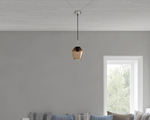 BRILONER Hanglamp Hoekig Ø 19 cm mat nikkel rookglas